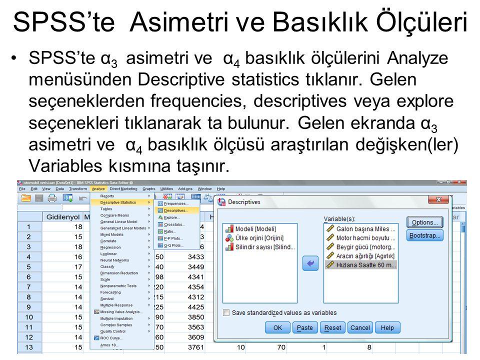 SPSS'te α 3 asimetri ve α 4 basıklık ölçülerini Analyze menüsünden Descriptive statistics tıklanır. Gelen seçeneklerden frequencies, descriptives veya