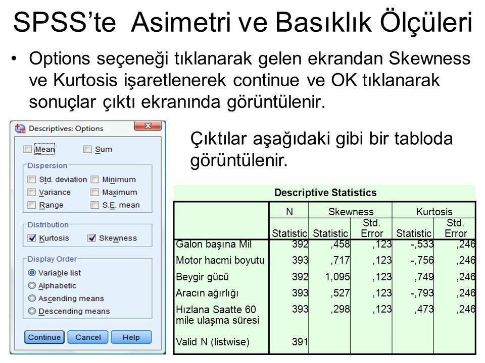 Options seçeneği tıklanarak gelen ekrandan Skewness ve Kurtosis işaretlenerek continue ve OK tıklanarak sonuçlar çıktı ekranında görüntülenir. SPSS'te