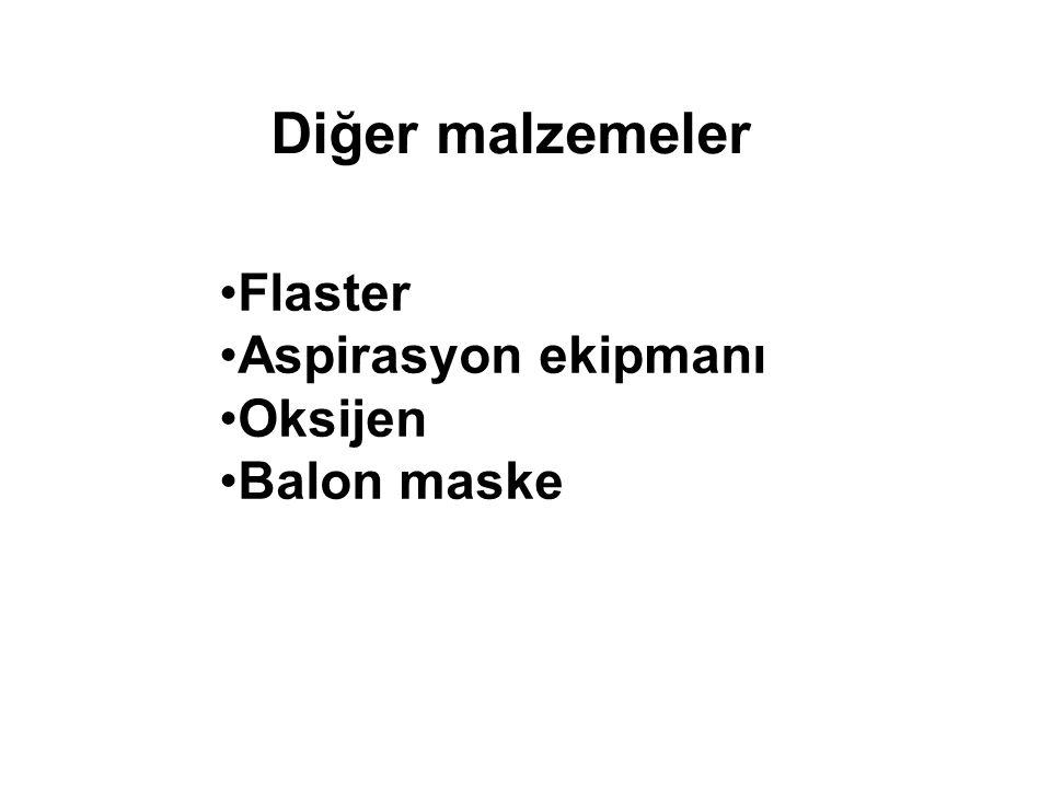 Flaster Aspirasyon ekipmanı Oksijen Balon maske Diğer malzemeler