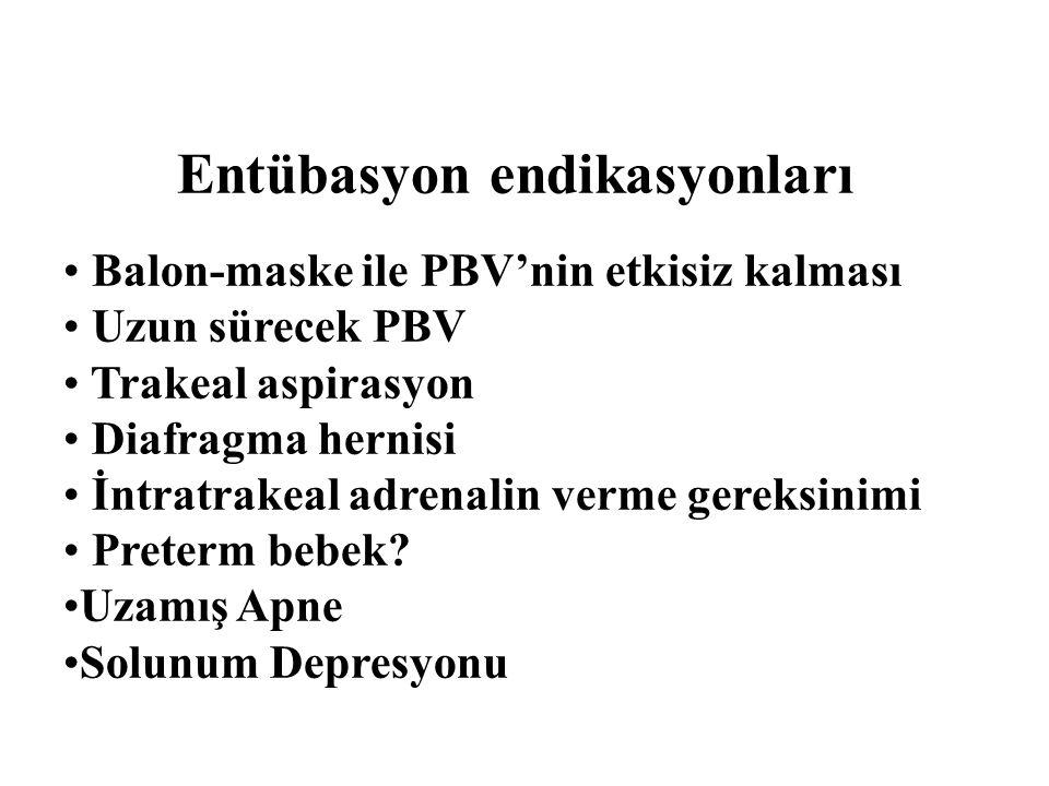 Balon-maske ile PBV'nin etkisiz kalması Uzun sürecek PBV Trakeal aspirasyon Diafragma hernisi İntratrakeal adrenalin verme gereksinimi Preterm bebek?
