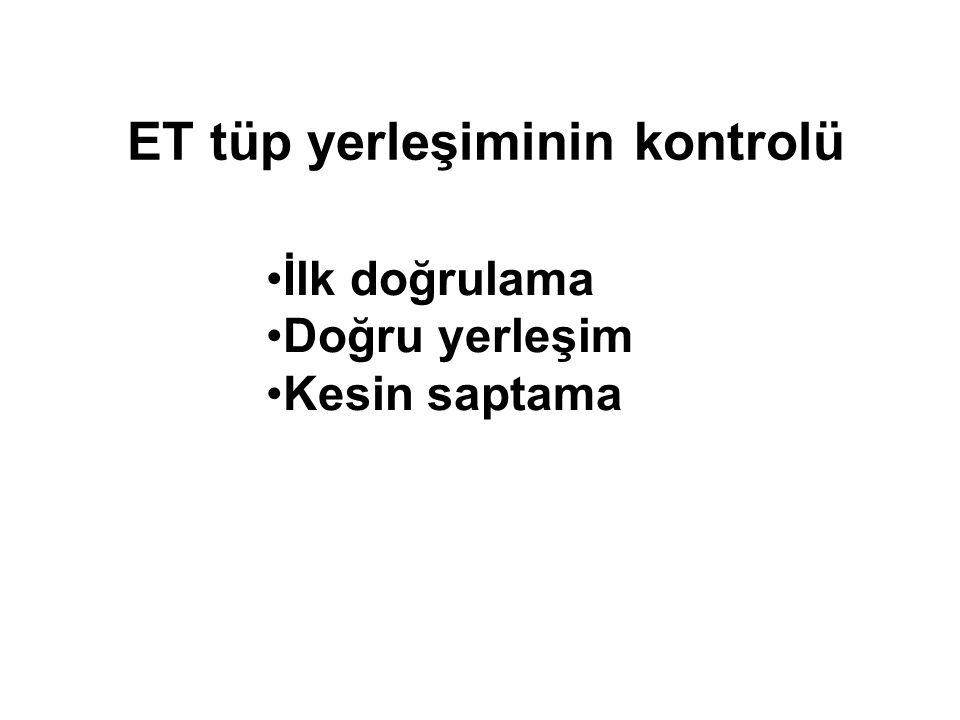 ET tüp yerleşiminin kontrolü İlk doğrulama Doğru yerleşim Kesin saptama