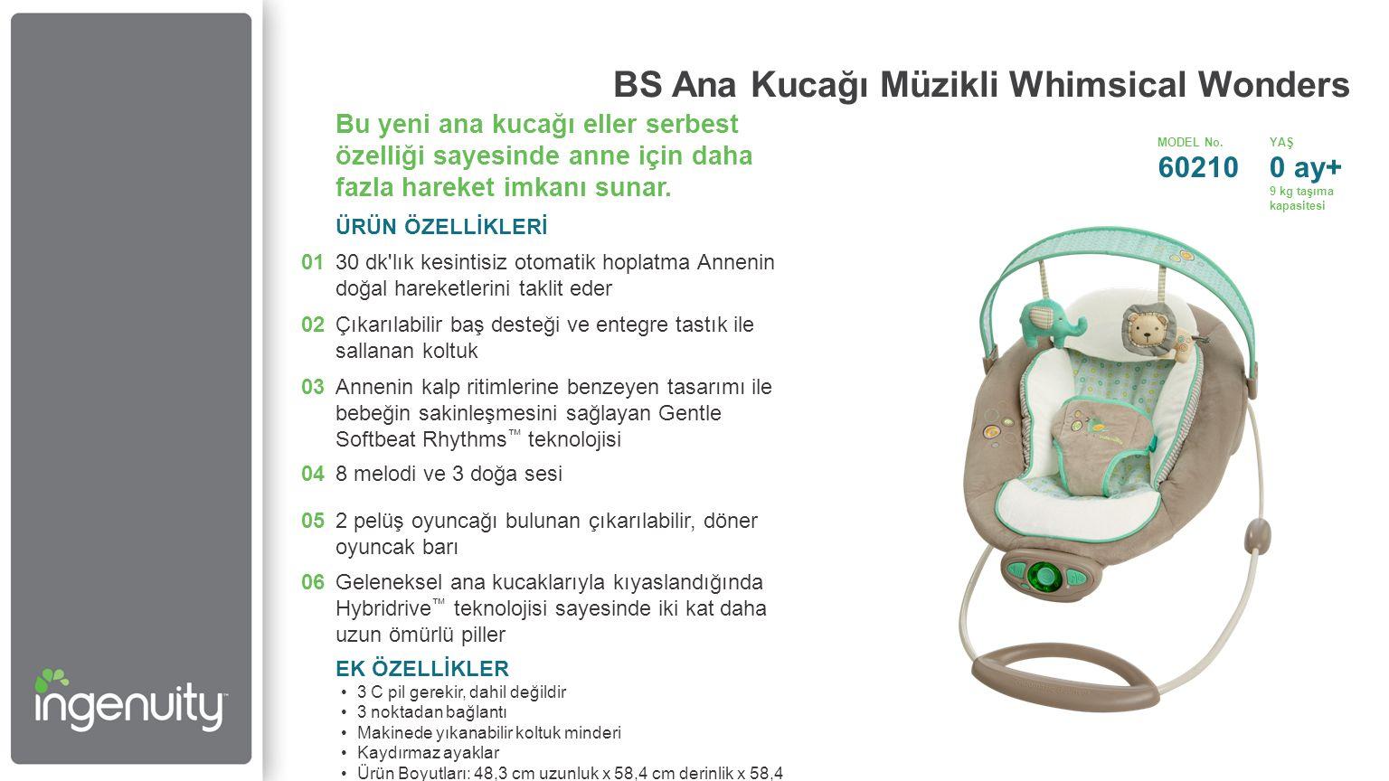 BS Ana Kucağı Müzikli Whimsical Wonders Bu yeni ana kucağı eller serbest özelliği sayesinde anne için daha fazla hareket imkanı sunar.