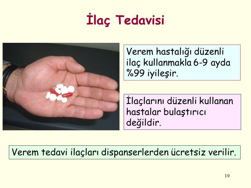 19 İlaç Tedavisi İlaçlarını düzenli kullanan hastalar bulaştırıcı değildir. Verem tedavi ilaçları dispanserlerden ücretsiz verilir. Verem hastalığı dü