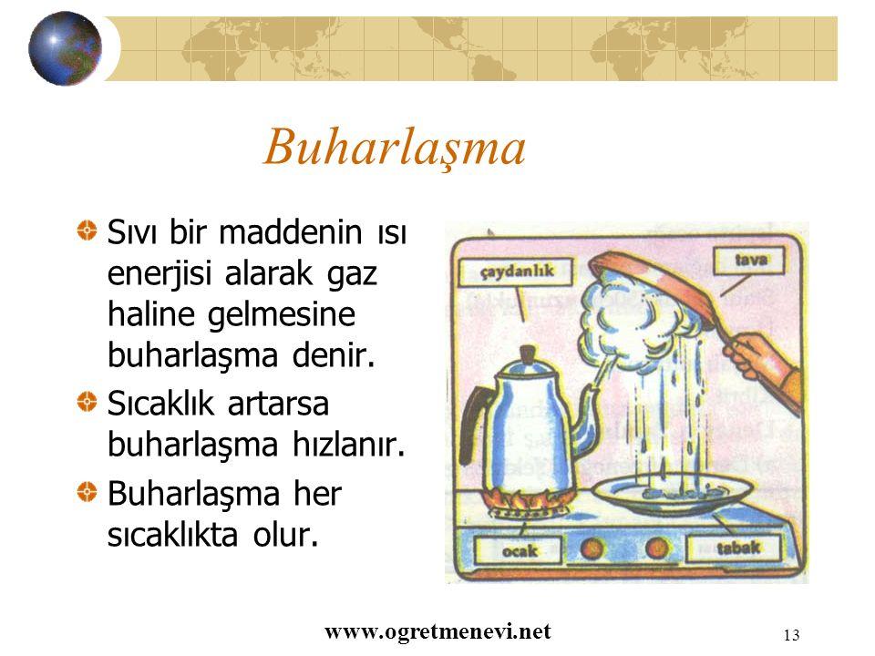 www.ogretmenevi.net 12 Donma Sıvı bir maddenin yeterince soğutularak katı hale geçmesine donma denir.