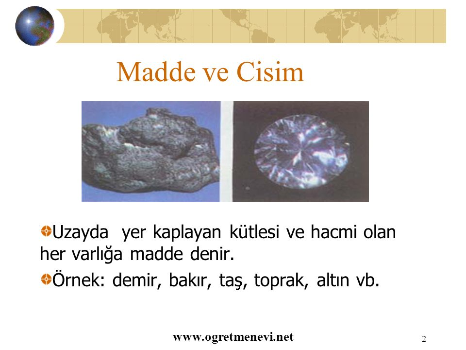 www.ogretmenevi.net 1 Maddeyi Tanıyalım Madde ve Cisim Maddenin Özellikleri Maddenin Haller Maddenin Hal Değiştirmesi