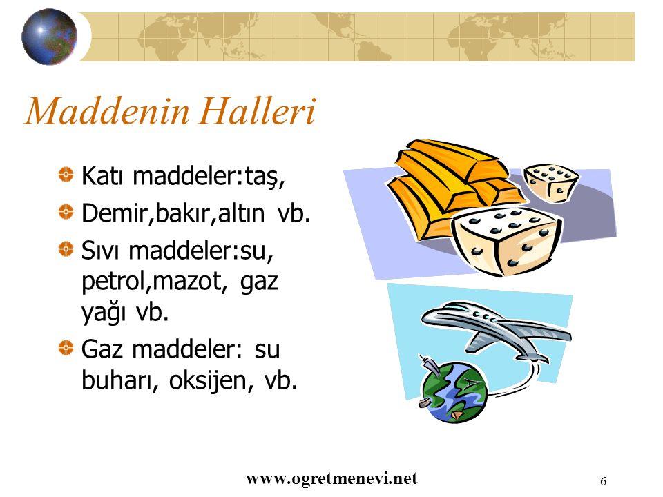 www.ogretmenevi.net 5 Maddenin Görülebilir Özellikleri Yumuşaklık, Sertlik Parlaklık, Matlık Saydamlık, Opaklık Düzgünlük, Pürüzlülük Renk, Koku, Tat