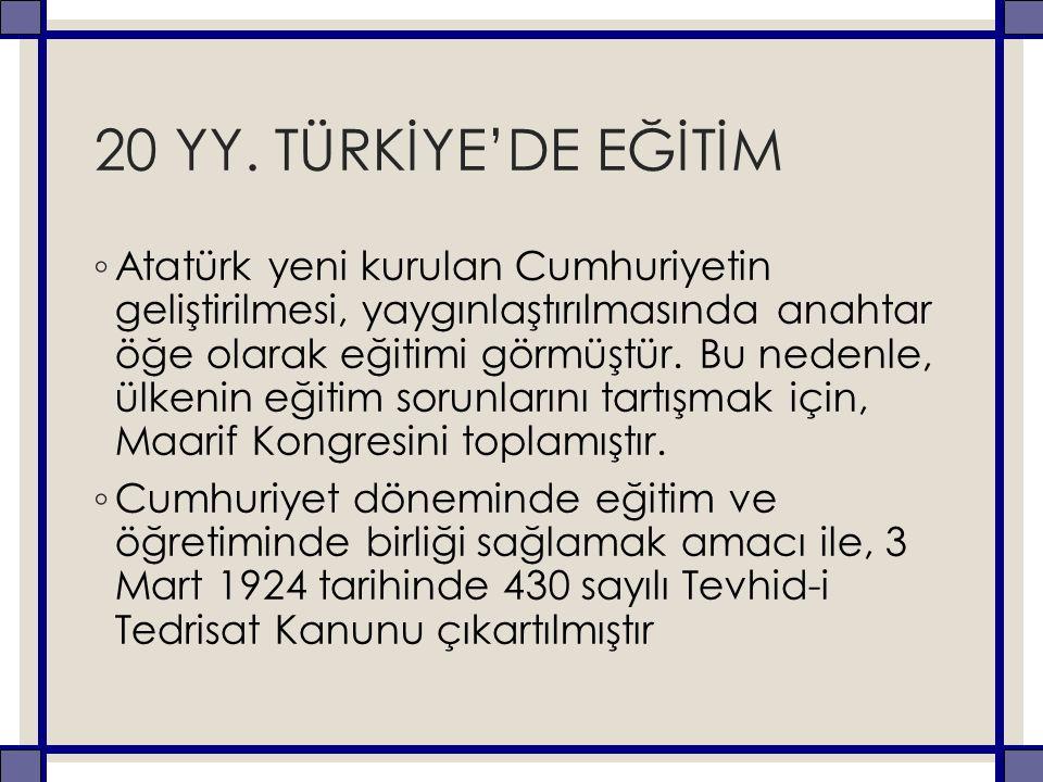 20 YY. TÜRKİYE'DE EĞİTİM ◦ Atatürk yeni kurulan Cumhuriyetin geliştirilmesi, yaygınlaştırılmasında anahtar öğe olarak eğitimi görmüştür. Bu nedenle, ü