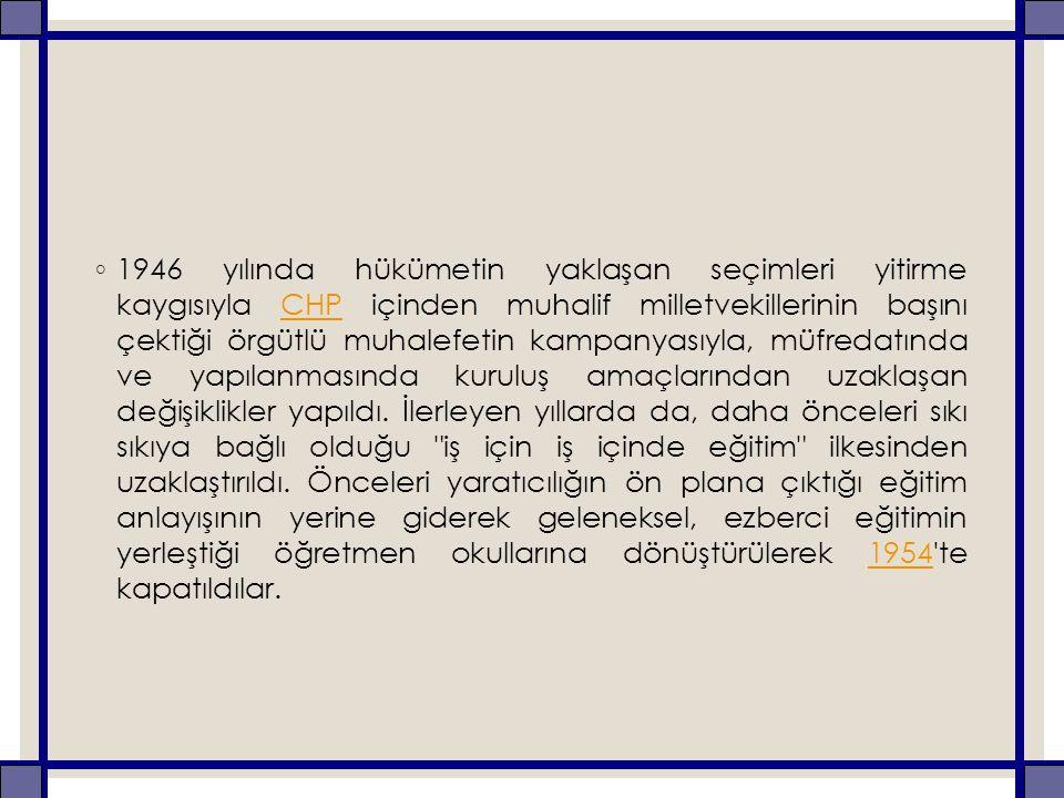 ◦ 1946 yılında hükümetin yaklaşan seçimleri yitirme kaygısıyla CHP içinden muhalif milletvekillerinin başını çektiği örgütlü muhalefetin kampanyasıyla