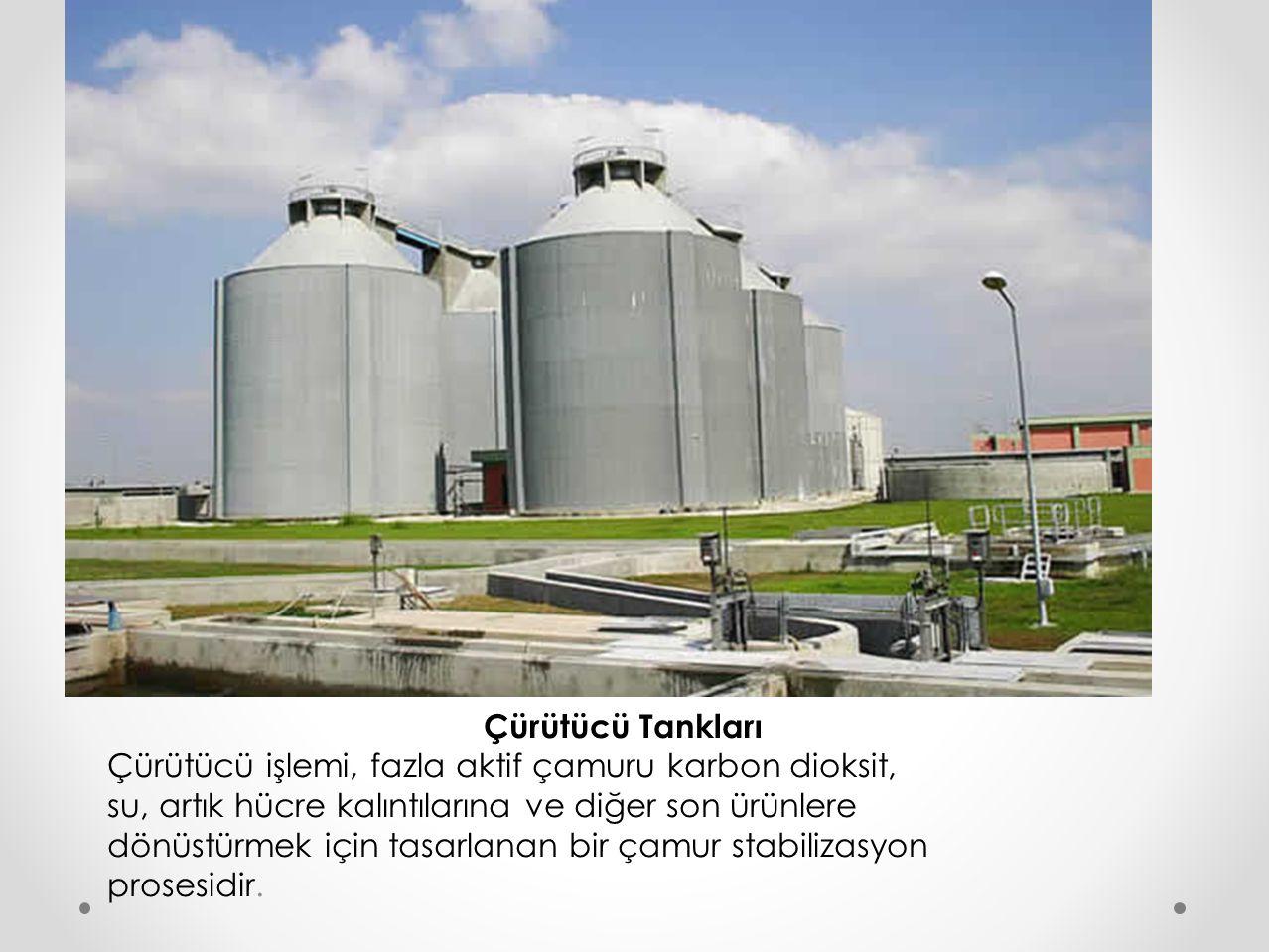 Çürütücü Tankları Çürütücü işlemi, fazla aktif çamuru karbon dioksit, su, artık hücre kalıntılarına ve diğer son ürünlere dönüstürmek için tasarlanan