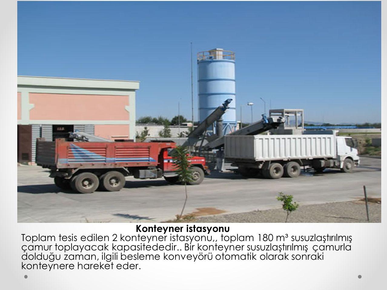 Konteyner istasyonu Toplam tesis edilen 2 konteyner istasyonu,, toplam 180 m³ susuzlaştırılmış çamur toplayacak kapasitededir.. Bir konteyner susuzlaş