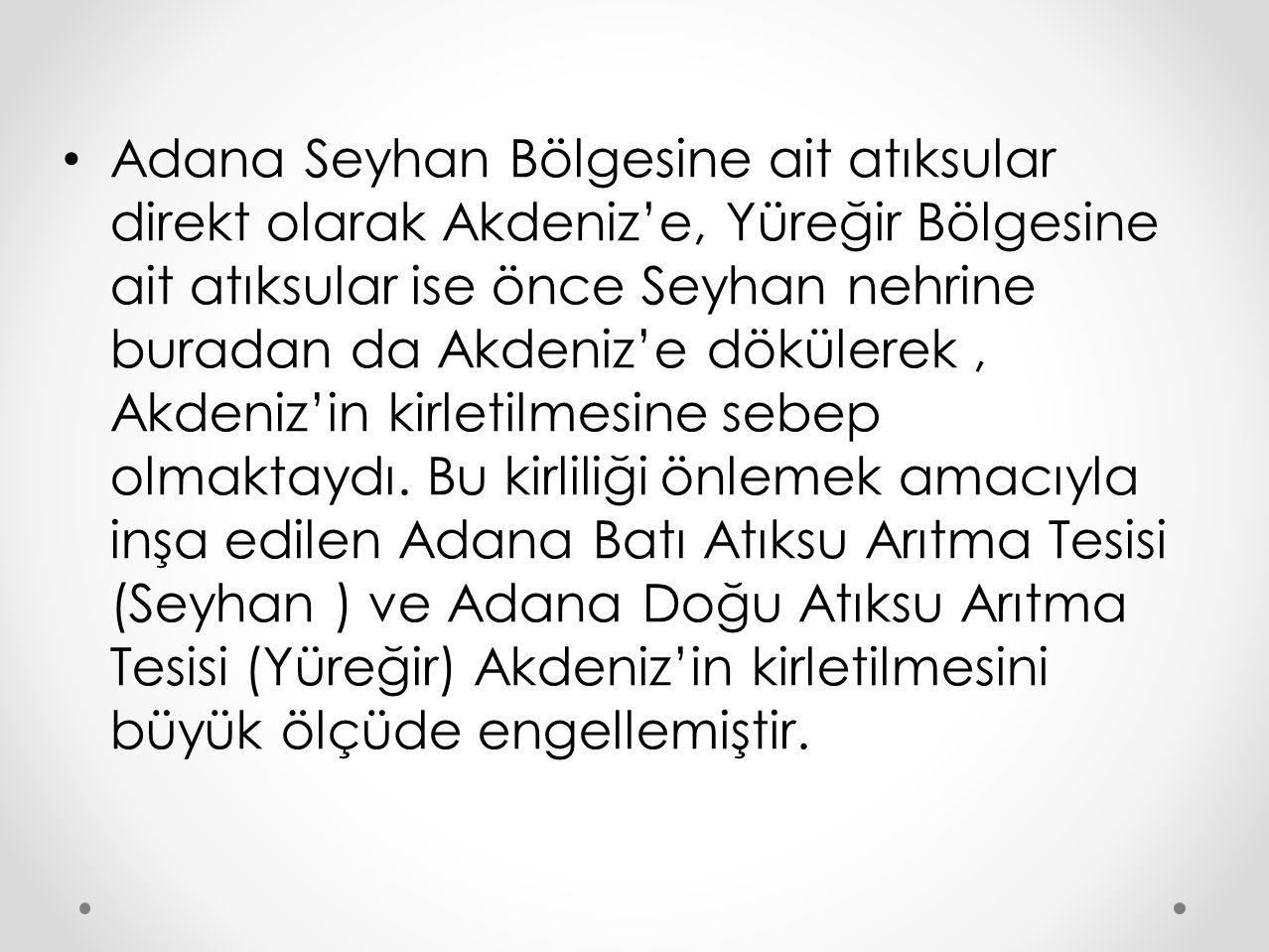Adana Seyhan Bölgesine ait atıksular direkt olarak Akdeniz'e, Yüreğir Bölgesine ait atıksular ise önce Seyhan nehrine buradan da Akdeniz'e dökülerek,