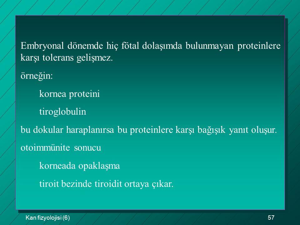 Kan fizyolojisi (6)57 Embryonal dönemde hiç fötal dolaşımda bulunmayan proteinlere karşı tolerans gelişmez. örneğin: kornea proteini tiroglobulin bu d