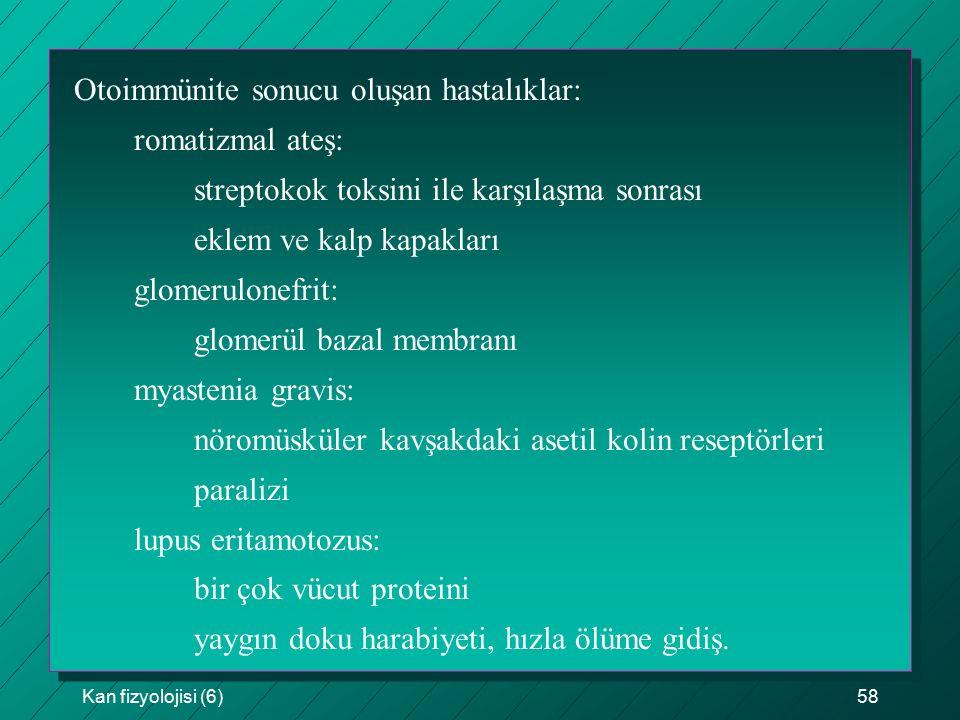 Kan fizyolojisi (6)58 Otoimmünite sonucu oluşan hastalıklar: romatizmal ateş: streptokok toksini ile karşılaşma sonrası eklem ve kalp kapakları glomerulonefrit: glomerül bazal membranı myastenia gravis: nöromüsküler kavşakdaki asetil kolin reseptörleri paralizi lupus eritamotozus: bir çok vücut proteini yaygın doku harabiyeti, hızla ölüme gidiş.