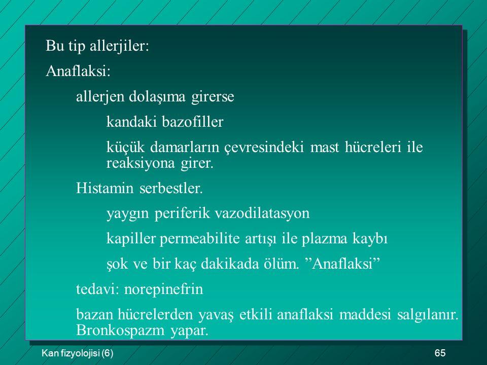 Kan fizyolojisi (6)65 Bu tip allerjiler: Anaflaksi: allerjen dolaşıma girerse kandaki bazofiller küçük damarların çevresindeki mast hücreleri ile reak