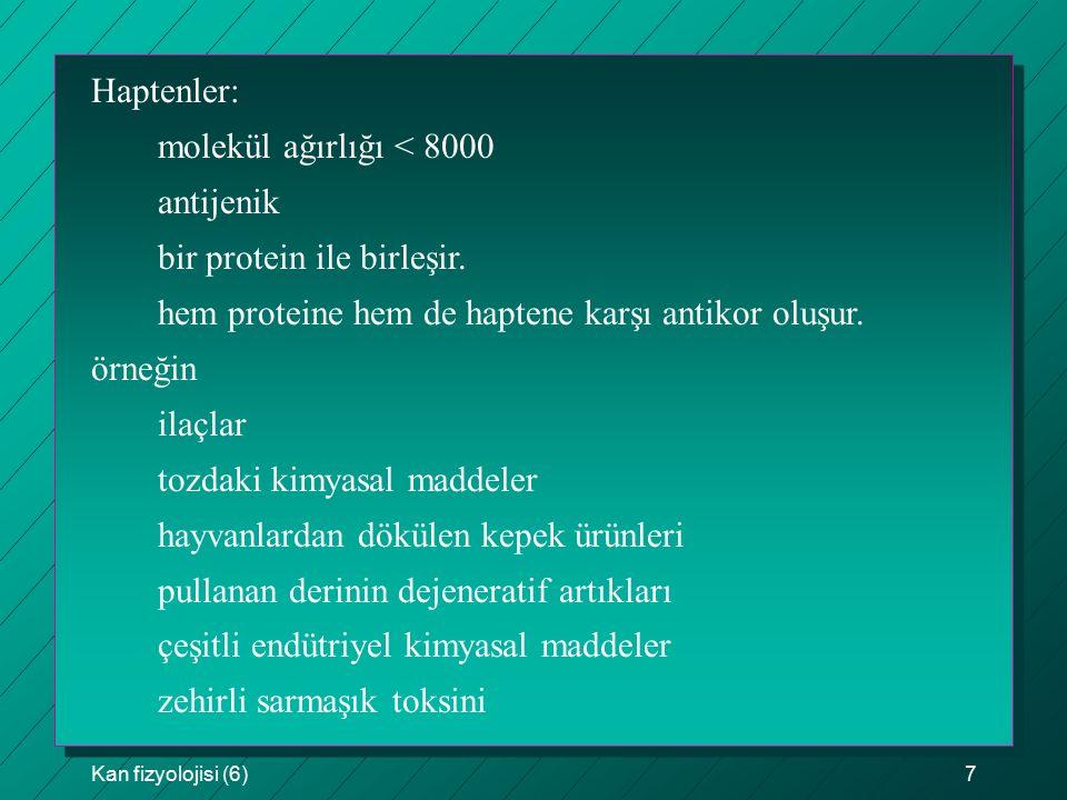 Kan fizyolojisi (6)7 Haptenler: molekül ağırlığı < 8000 antijenik bir protein ile birleşir. hem proteine hem de haptene karşı antikor oluşur. örneğin