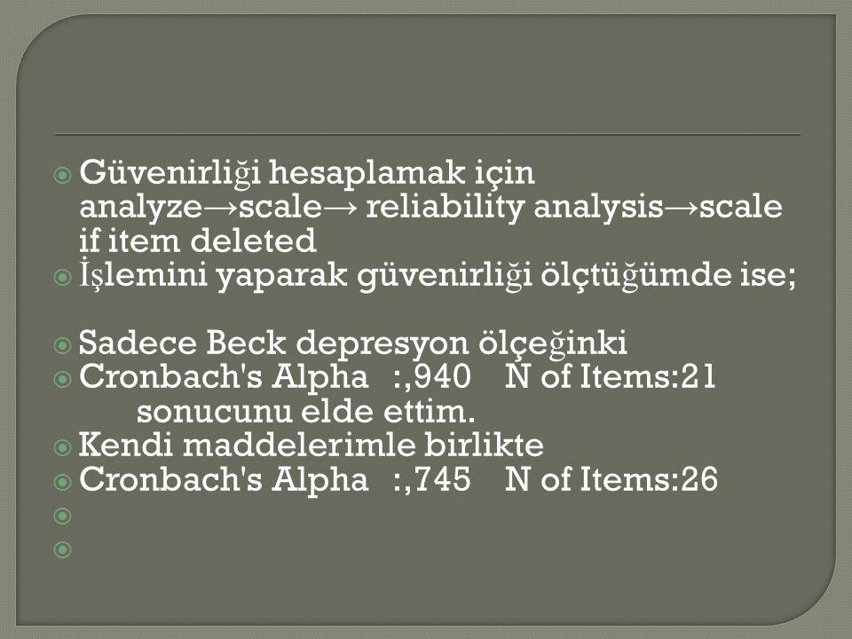  Güvenirli ğ i hesaplamak için analyze → scale → reliability analysis → scale if item deleted  İş lemini yaparak güvenirli ğ i ölçtü ğ ümde ise;  Sadece Beck depresyon ölçe ğ inki  Cronbach s Alpha:,940 N of Items:21 sonucunu elde ettim.