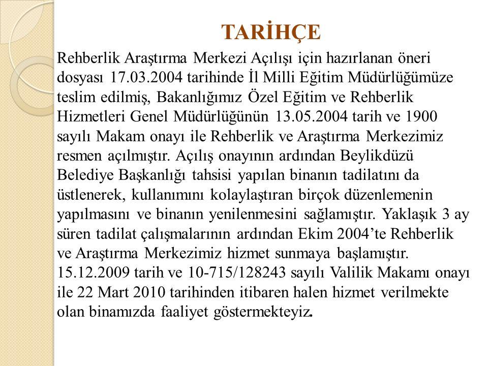 TARİHÇE Rehberlik Araştırma Merkezi Açılışı için hazırlanan öneri dosyası 17.03.2004 tarihinde İl Milli Eğitim Müdürlüğümüze teslim edilmiş, Bakanlığı