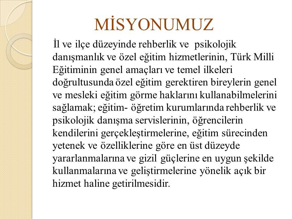MİSYONUMUZ İl ve ilçe düzeyinde rehberlik ve psikolojik danışmanlık ve özel eğitim hizmetlerinin, Türk Milli Eğitiminin genel amaçları ve temel ilkele