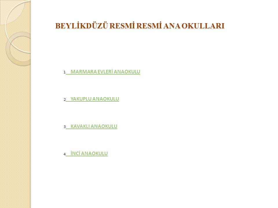 BEYLİKDÜZÜ RESMİ RESMİ ANA OKULLARI 1 MARMARA EVLERİ ANAOKULU 2 YAKUPLU ANAOKULU 3 KAVAKLI ANAOKULU 4 İNCİ ANAOKULU