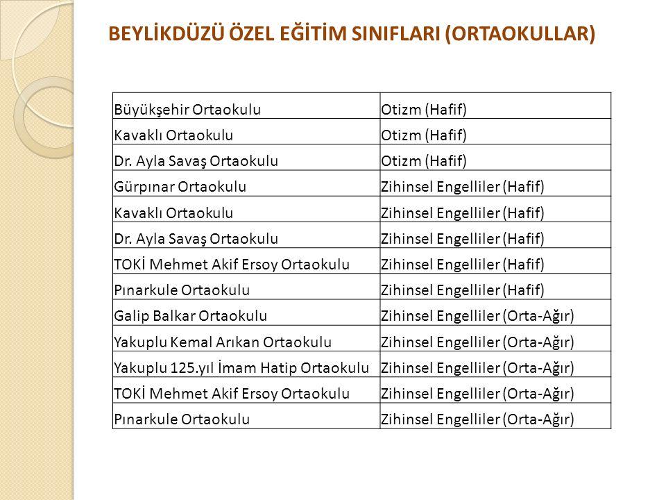 BEYLİKDÜZÜ ÖZEL EĞİTİM SINIFLARI (ORTAOKULLAR) Büyükşehir OrtaokuluOtizm (Hafif) Kavaklı OrtaokuluOtizm (Hafif) Dr. Ayla Savaş OrtaokuluOtizm (Hafif)