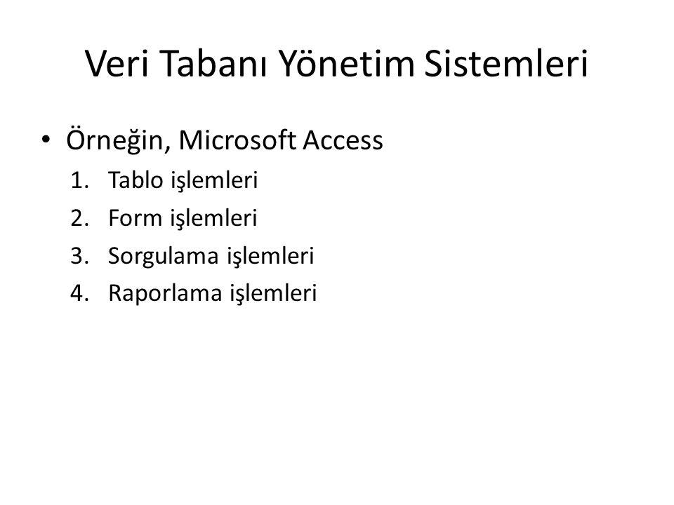 Veri Tabanı Yönetim Sistemleri Örneğin, Microsoft Access 1.Tablo işlemleri 2.Form işlemleri 3.Sorgulama işlemleri 4.Raporlama işlemleri