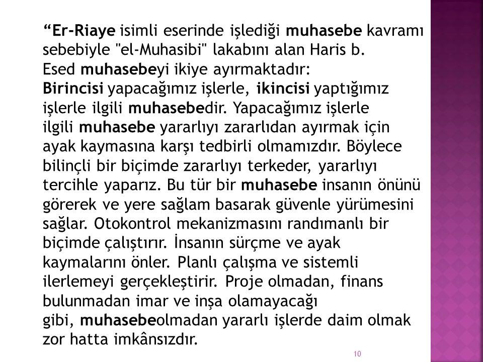 Er-Riaye isimli eserinde işlediği muhasebe kavramı sebebiyle el-Muhasibi lakabını alan Haris b.