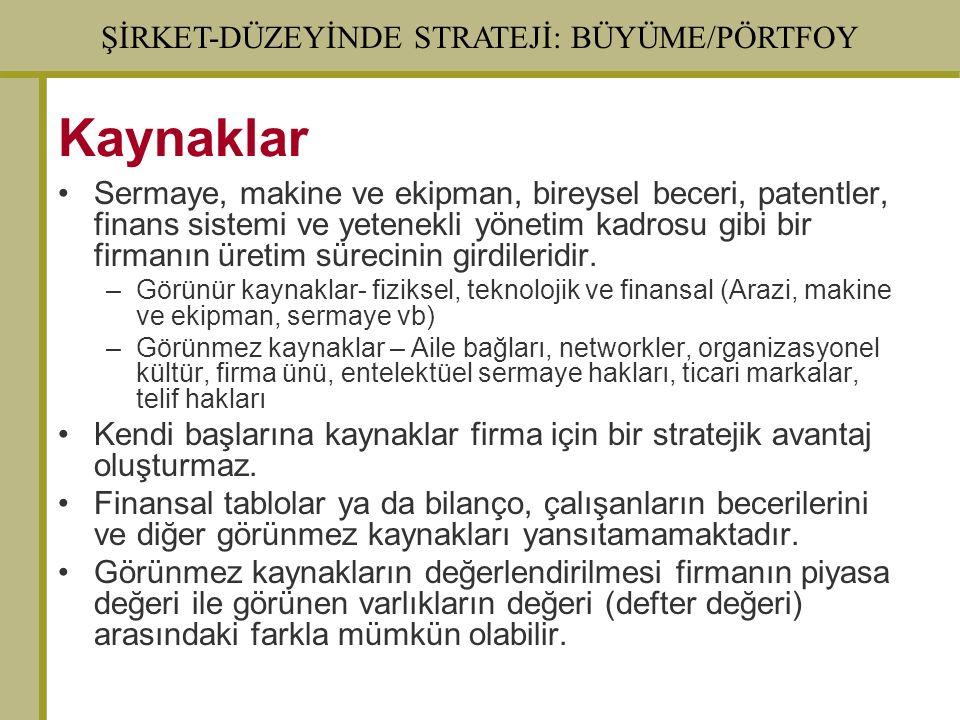 ŞİRKET-DÜZEYİNDE STRATEJİ: BÜYÜME/PÖRTFOY Kaynaklar Sermaye, makine ve ekipman, bireysel beceri, patentler, finans sistemi ve yetenekli yönetim kadros