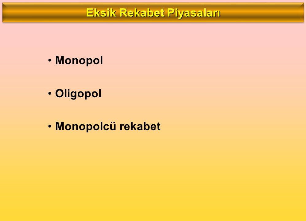 Monopol Oligopol Monopolcü rekabet Eksik Rekabet Piyasaları