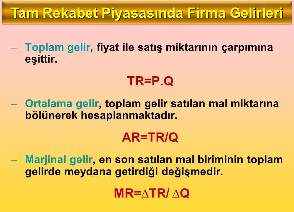 –Toplam gelir, fiyat ile satış miktarının çarpımına eşittir. TR=P.Q –Ortalama gelir, toplam gelir satılan mal miktarına bölünerek hesaplanmaktadır. AR