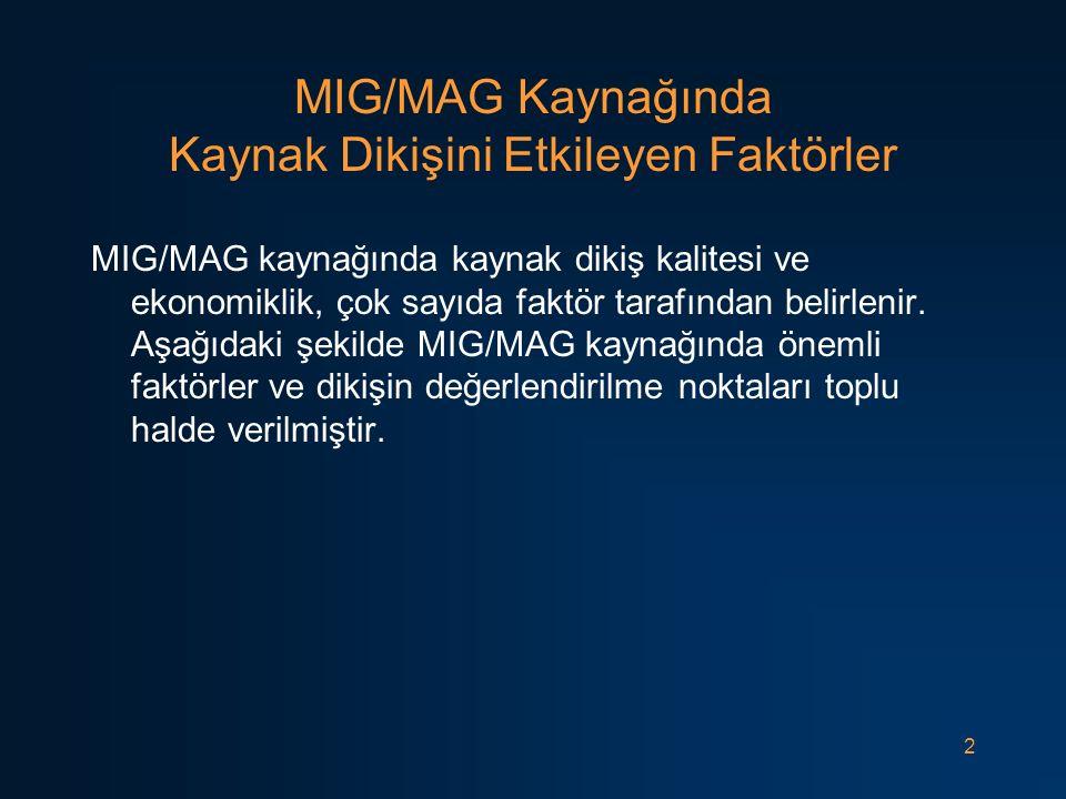 2 MIG/MAG Kaynağında Kaynak Dikişini Etkileyen Faktörler MIG/MAG kaynağında kaynak dikiş kalitesi ve ekonomiklik, çok sayıda faktör tarafından belirle