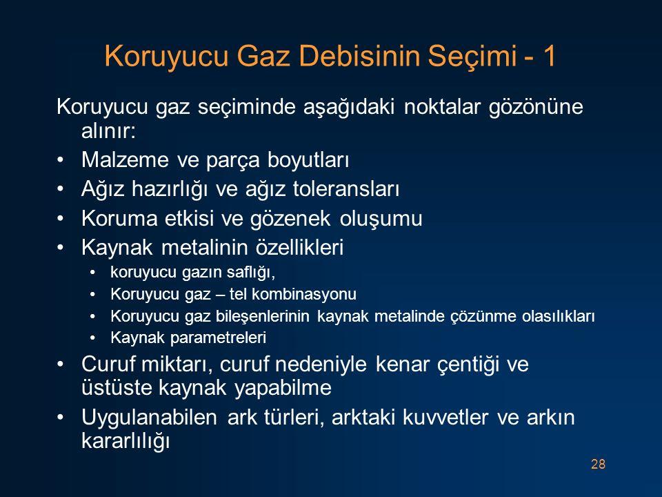 28 Koruyucu Gaz Debisinin Seçimi - 1 Koruyucu gaz seçiminde aşağıdaki noktalar gözönüne alınır: Malzeme ve parça boyutları Ağız hazırlığı ve ağız tole