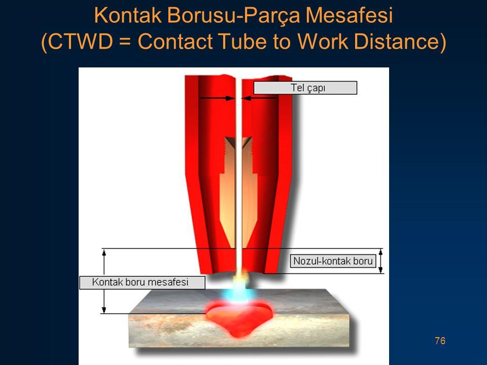 76 Kontak Borusu-Parça Mesafesi (CTWD = Contact Tube to Work Distance)