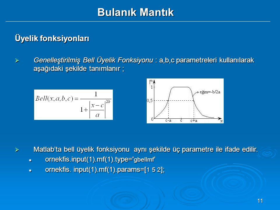 11 Bulanık Mantık Üyelik fonksiyonları  Genelleştirilmiş Bell Üyelik Fonksiyonu : a,b,c parametreleri kullanılarak aşağıdaki şekilde tanımlanır ;  Matlab'ta bell üyelik fonksiyonu aynı şekilde üç parametre ile ifade edilir.