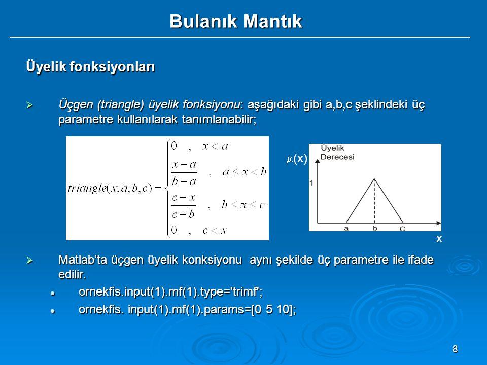 8 Bulanık Mantık Üyelik fonksiyonları  Üçgen (triangle) üyelik fonksiyonu: aşağıdaki gibi a,b,c şeklindeki üç parametre kullanılarak tanımlanabilir;  Matlab'ta üçgen üyelik konksiyonu aynı şekilde üç parametre ile ifade edilir.
