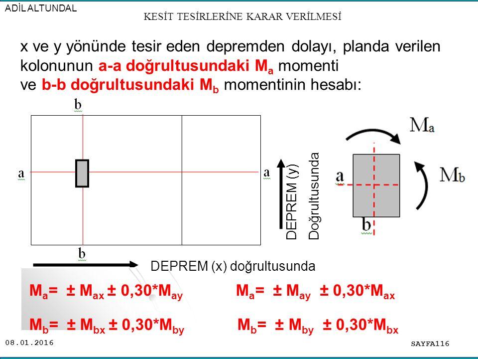 08.01.2016 SAYFA116 ADİL ALTUNDAL x ve y yönünde tesir eden depremden dolayı, planda verilen kolonunun a-a doğrultusundaki M a momenti ve b-b doğrultu