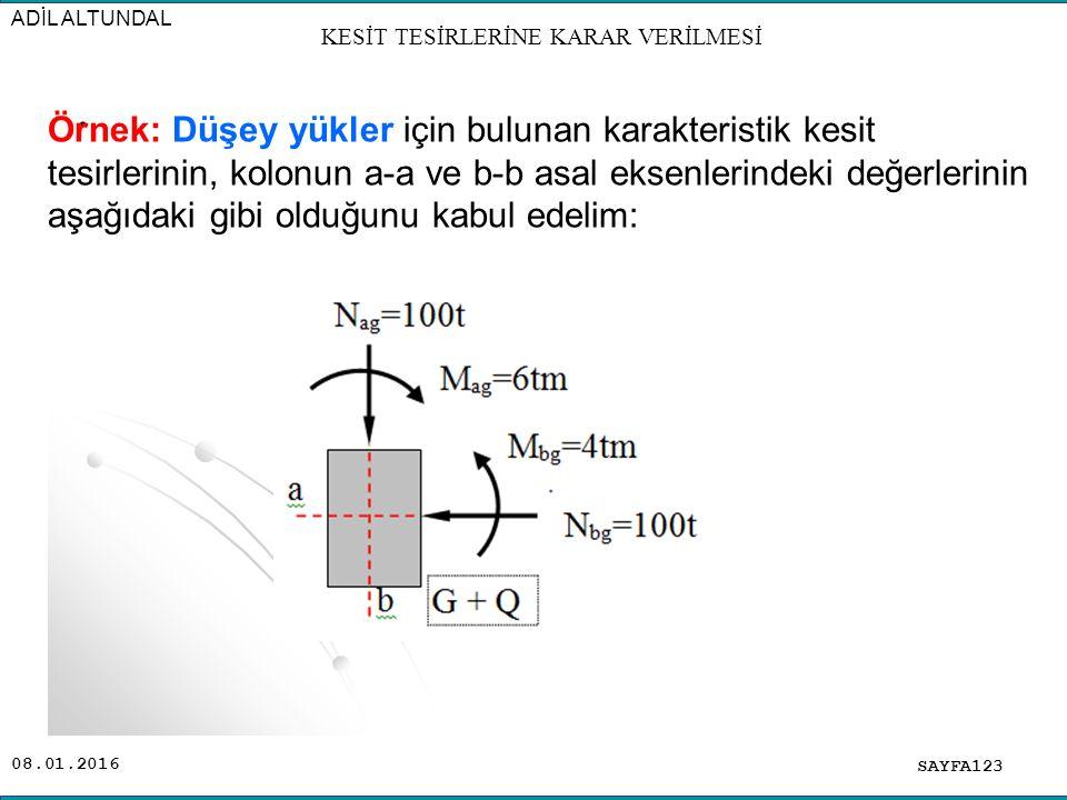 08.01.2016 SAYFA123 ADİL ALTUNDAL. Örnek: Düşey yükler için bulunan karakteristik kesit tesirlerinin, kolonun a-a ve b-b asal eksenlerindeki değerleri