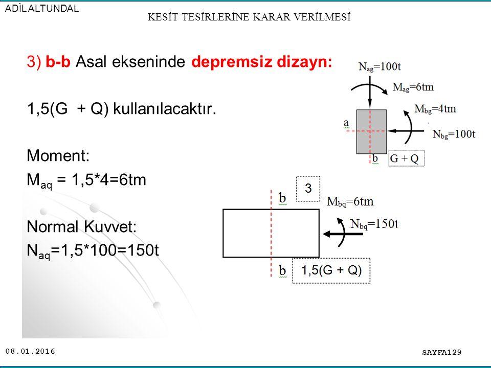 08.01.2016 SAYFA129 ADİL ALTUNDAL 3) b-b Asal ekseninde depremsiz dizayn: 1,5(G + Q) kullanılacaktır. Moment: M aq = 1,5*4=6tm Normal Kuvvet: N aq =1,
