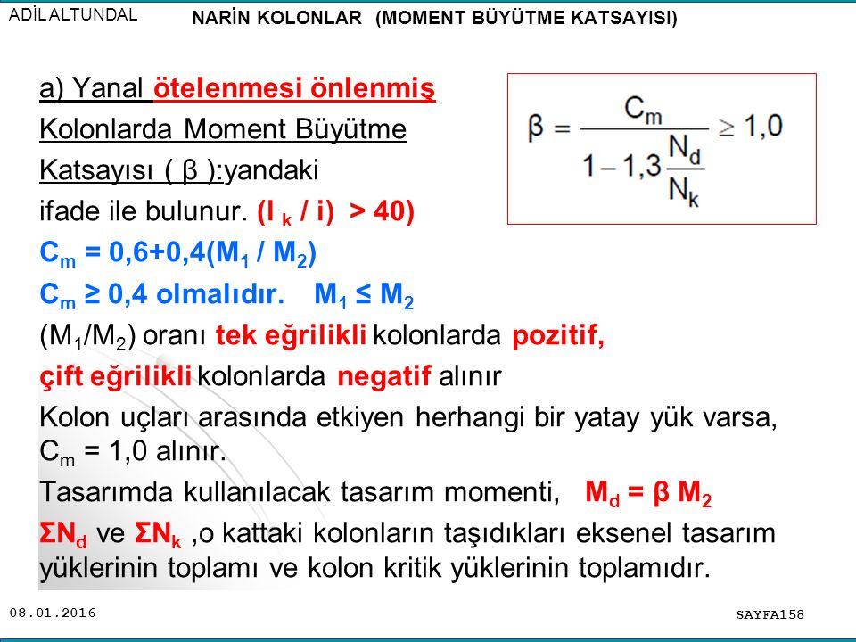 08.01.2016 SAYFA158 ADİL ALTUNDAL a) Yanal ötelenmesi önlenmiş Kolonlarda Moment Büyütme Katsayısı ( β ):yandaki ifade ile bulunur. (l k / i) > 40) C
