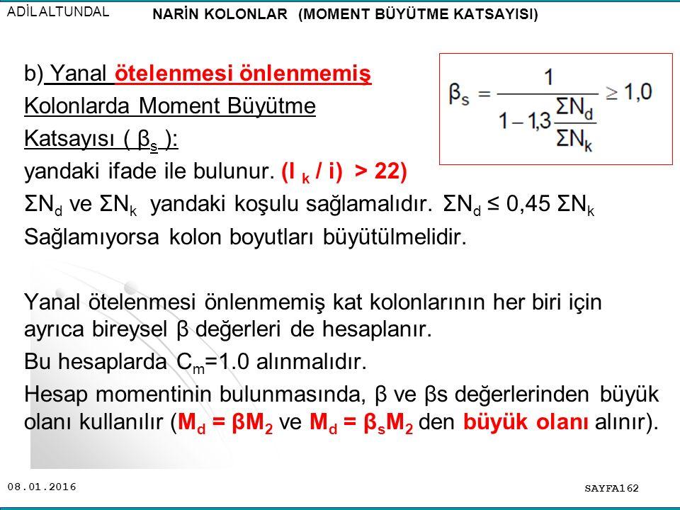SAYFA162 ADİL ALTUNDAL b) Yanal ötelenmesi önlenmemiş Kolonlarda Moment Büyütme Katsayısı ( β s ): yandaki ifade ile bulunur. (l k / i) > 22) ΣN d ve