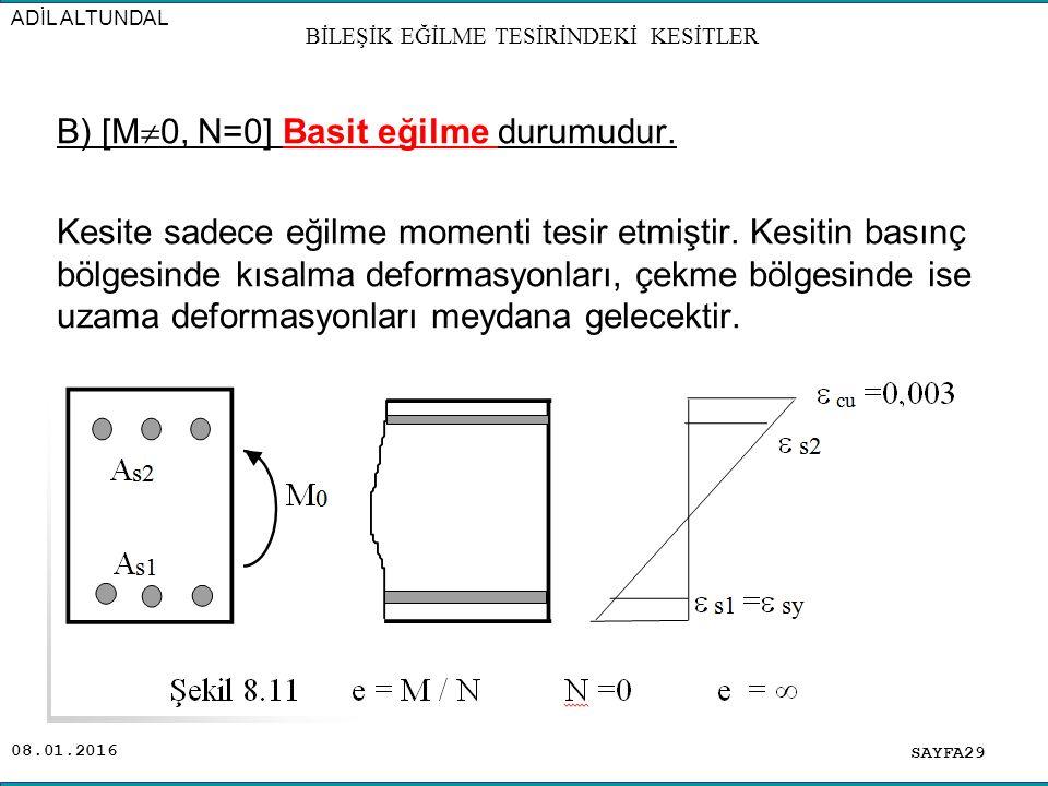 08.01.2016 B) [M  0, N=0] Basit eğilme durumudur. Kesite sadece eğilme momenti tesir etmiştir. Kesitin basınç bölgesinde kısalma deformasyonları, çek