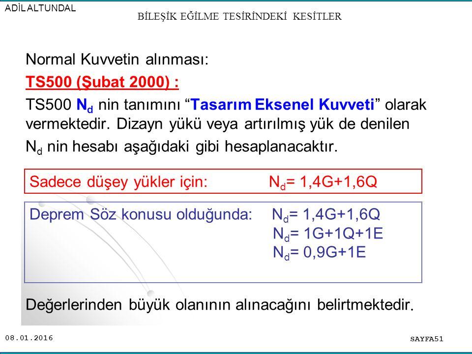 """08.01.2016 Normal Kuvvetin alınması: TS500 (Şubat 2000) : TS500 N d nin tanımını """"Tasarım Eksenel Kuvveti"""" olarak vermektedir. Dizayn yükü veya artırı"""