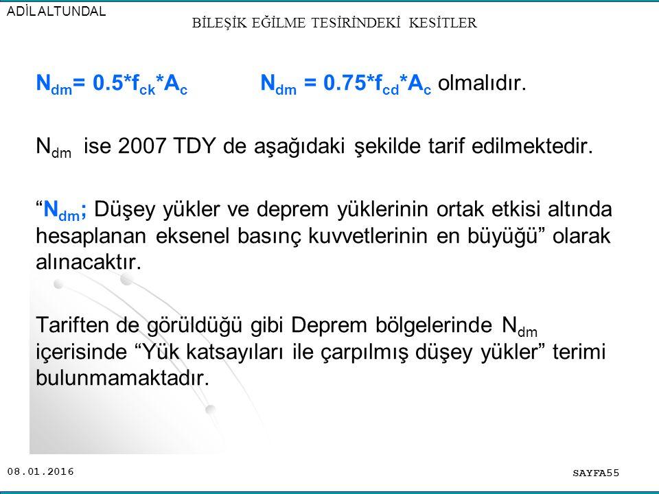 """08.01.2016 N dm = 0.5*f ck *A c N dm = 0.75*f cd *A c olmalıdır. N dm ise 2007 TDY de aşağıdaki şekilde tarif edilmektedir. """"N dm ; Düşey yükler ve de"""