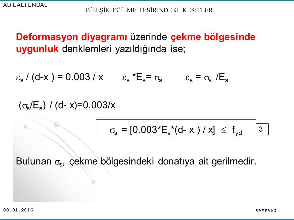 08.01.2016 Deformasyon diyagramı üzerinde çekme bölgesinde uygunluk denklemleri yazıldığında ise;  s / (d-x ) = 0.003 / x  s *E s =  s  s =  s /E
