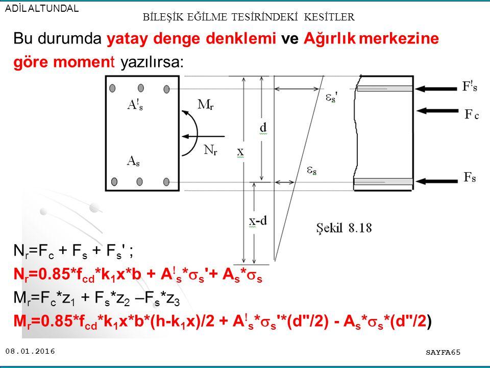 08.01.2016 Bu durumda yatay denge denklemi ve Ağırlık merkezine göre moment yazılırsa: N r =F c + F s + F s ' ; N r =0.85*f cd *k 1 x*b + A ! s *  s