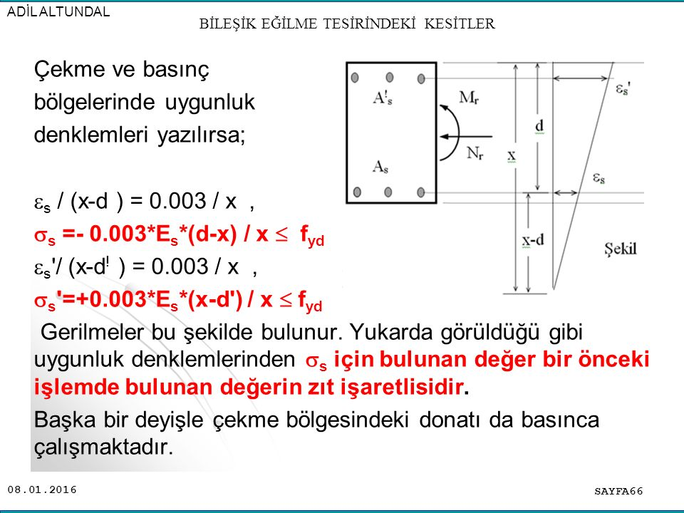08.01.2016 Çekme ve basınç bölgelerinde uygunluk denklemleri yazılırsa;  s / (x-d ) = 0.003 / x,  s =- 0.003*E s *(d-x) / x  f yd  s '/ (x-d ! ) =