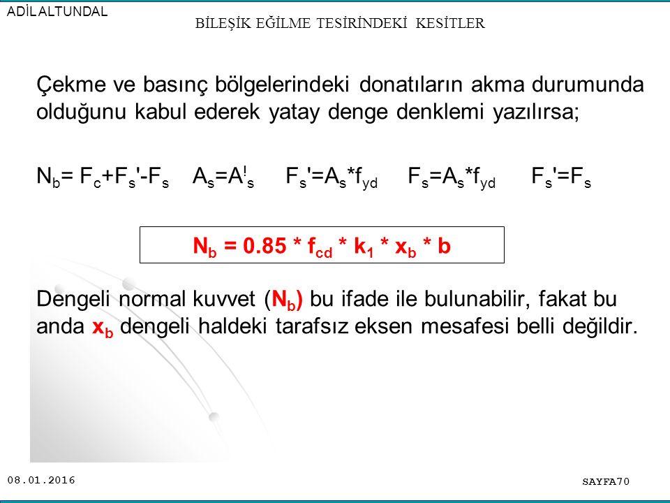 08.01.2016 Çekme ve basınç bölgelerindeki donatıların akma durumunda olduğunu kabul ederek yatay denge denklemi yazılırsa; N b = F c +F s '-F s A s =A