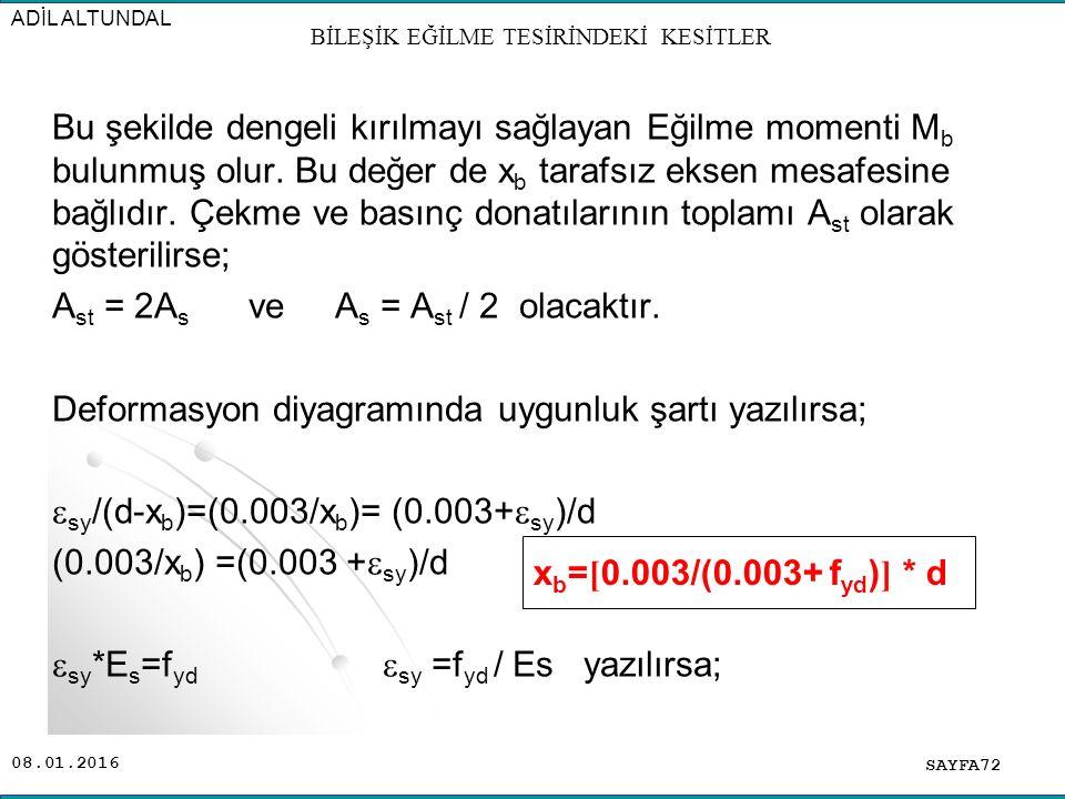 08.01.2016 Bu şekilde dengeli kırılmayı sağlayan Eğilme momenti M b bulunmuş olur. Bu değer de x b tarafsız eksen mesafesine bağlıdır. Çekme ve basınç