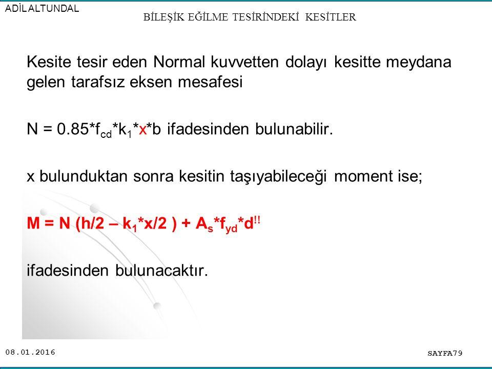 08.01.2016 Kesite tesir eden Normal kuvvetten dolayı kesitte meydana gelen tarafsız eksen mesafesi N = 0.85*f cd *k 1 *x*b ifadesinden bulunabilir. x