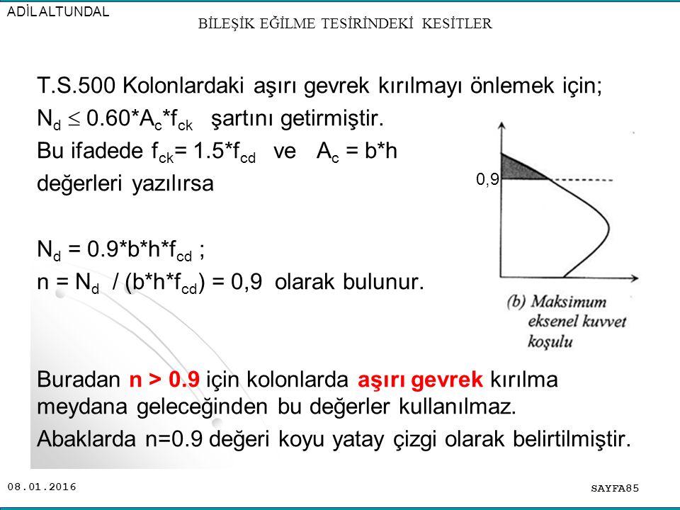 08.01.2016 T.S.500 Kolonlardaki aşırı gevrek kırılmayı önlemek için; N d  0.60*A c *f ck şartını getirmiştir. Bu ifadede f ck = 1.5*f cd ve A c = b*h