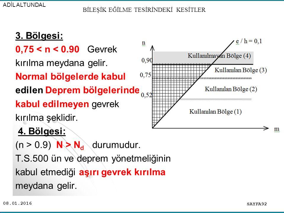08.01.2016 3. Bölgesi: 0,75 < n < 0.90 Gevrek kırılma meydana gelir. Normal bölgelerde kabul edilen Deprem bölgelerinde kabul edilmeyen gevrek kırılma